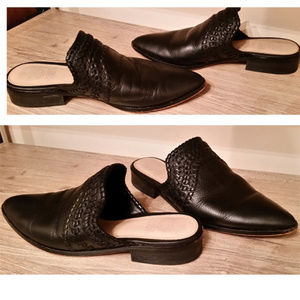Vince Camuto Sona leather mules 8.5 run Plus or W